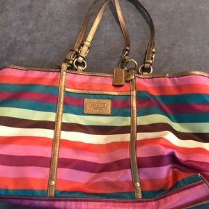 Coach striped bag pre owned